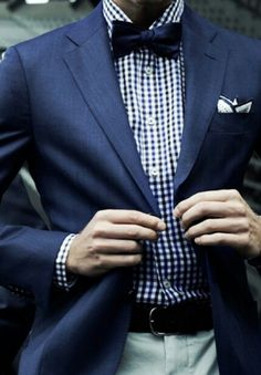 Navy□■▪Check☆Bow Tie
