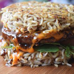 Korean BBQ Ramen Burger. Strict Vegans: use agave nectar or another alternative sweetener vice honey.
