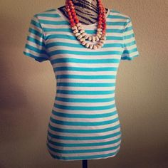 Perfect Light Blue Striped Tee Perfect condition crew neck tee from Old Navy. Dress up or down! Great for layering in the fall. No paypal or trades, thanks! (Necklace also for sale!) Old Navy Tops