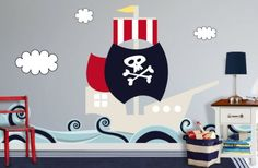 Color Me Wall :: Pirate Ship Wall Decal for kids rooms.