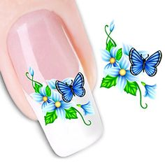 Ottery Beauty Water Transfers Decals Design Blue flowers butterfly Nail Art Stickers Nail Tips Nail Art * Continue to the product at the image link. Note:It is Affiliate Link to Amazon.