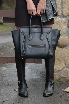 Lanvin boots, Celine bag.
