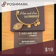 Alex and Ani Mother Mary bracelet Alex and Ani (+) Energy Mother Mary Rafaelian Gold Finish bracelet  Never worn still in box Alex and Ani Jewelry Bracelets