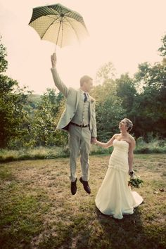fun mary poppins inspired wedding photo