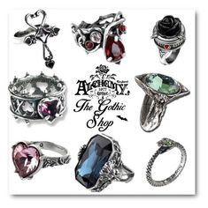 """Alchemy Gothic Rings"" by thegothicshop ❤ liked on Polyvore"