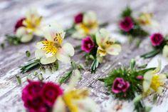 Alstromeria Briza, Sweet William florets and Rosemary buttonholes.