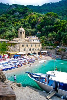 The monastery at San Fruttuoso, Italy  #travel #italy #beaches