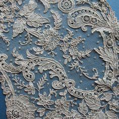 Antique Handmade Point De Gaze Needle lace FAN LEAF Collector