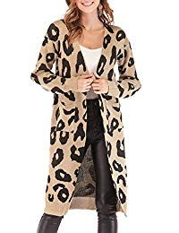 BTFBM Women Long Sleeve Open Front Leopard Knit Long Cardigan Casual Print Knitted Maxi Sweater Coat Outwear with Pockets (Khaki Small) Cardigan Casual, Leopard Cardigan, Kimono Cardigan, Long Cardigan, Cardigan Fashion, Knitted Coat, Sweater Coats, Long Sweaters, Cardigans For Women