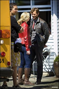 Jamie Dornan on set of once upon a time