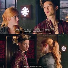 """[Episode 1x07] Only Magnus Bane would come up with something like that while explaining something serious #FreeForm #katmcnamara #claryfray…"""