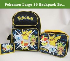 Pokemon Large 16 Backpack Book Bag, Lunch Box & Wallet by Bag2School. Pokemon Backpack Set!. Backpack. Lunchbox. Wallet. This complete set is offered by seller Bag2School.