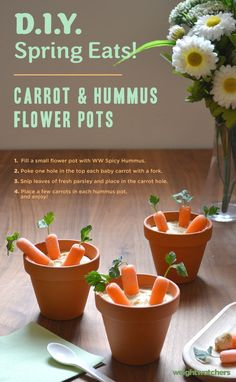 Almost too cute to eat- almost! These easy DIY delicious Carrot & Hummus Flower Pot snacks are great for entertaining in the Spring