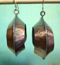 Large lightweight copper foldform earrings. $75.00, via Etsy.