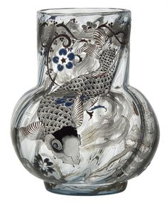 "The vase ""Carp"", 1878, Acquired by the Museum of Decorative Arts at the Universal Exhibition 1878 when it was created. Emile Galle was familier with Japanese prints during 1870s. enameled on clair-de-lune glass."