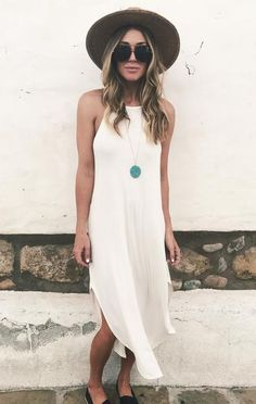 """Cherie Maxi Dress - """" You are in the right place about trends funny Here we offer you the most beautiful pictures ab - Black Dress Outfits, Summer Dress Outfits, Outfits With Hats, Beach Outfits, Casual Summer Outfits For Women, Casual Summer Dresses, Casual Outfits, White Maxi Dress Casual, Casual Date Night Outfit Summer"""