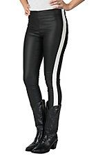 Karlie Women's Back Faux Leather with White Stripe Leggings