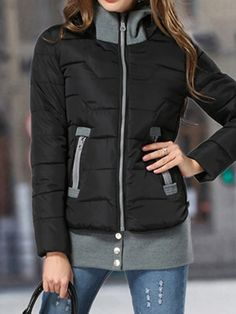 Love Love LOVE this Puffer Jacket! Cozy Black and grey Hooded Puffer Down Coat with Detachable Hem | Choies #Cozy #Black_and_Grey #Puffer #Jacket #Fall #Outdoor #Fashion Cute Jackets, Jackets For Women, What To Wear Today, Hooded Raincoat, Raincoats For Women, Tomboy Fashion, Fall Winter Outfits, Winter Fashion, Facon