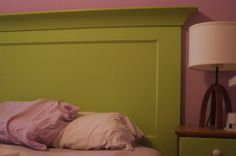 Make a headboard from a door. #upcycled #recycled #bedroom