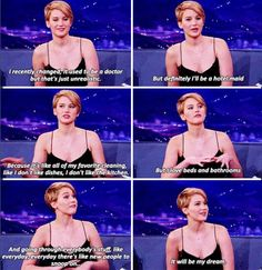 "Jennifer Lawrence answers the question ""What would you be doing if you weren't acting?"""