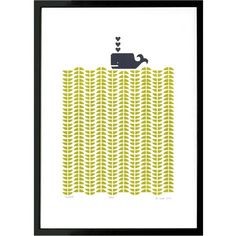 Lu West - Whale Print in Chartreuse (100 CAD) ❤ liked on Polyvore featuring home, home decor, wall art, whale home decor, framed wall art, ocean home decor, sea wall art and unframed wall art