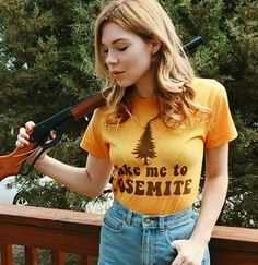 Our Take me to Yosemite tshirts are printed with a pre-faded ink print on the softest 50/50 material, making these feel like a perfectly worn in vintage tee. Tshirts are printed on a 70s inspired Marigold yellow tee, with soft brown print. *Unisex fit, meaning a looser womens tshirt fit. We suggest women order one size down from your normal size. Men order your regular size   Designed, manufactured, and printed in California   Please read our shop policies before purchase, thank you