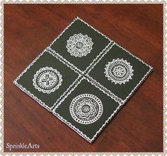Mandala Ceramic Tile Coasters Set of 4 - Indian Henna, Mehndi Design, Hand Painted, Kitchen & Dining, Hostess Gift, Black, White - pinned by pin4etsy.com