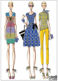 The sketches of the new Cavalli CLASS SS 2014 Capsule Collection by #RobertoCavalli!