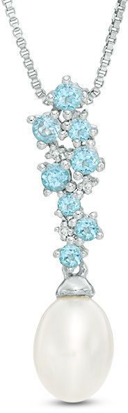 Zales Oval Cultured Freshwater Pearl, Swiss Blue Topaz and Diamond Accent Cluster Pendant in Sterling Silver
