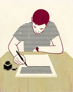 Joey Guidone - Being a Writer. From the book 'Being a Writer', Frances-Lincoln publishing Italian Artist, Illustrations And Posters, Thought Provoking, Vector Art, Grid Design, Art Drawings, Writer, Character Design, Illustration Art