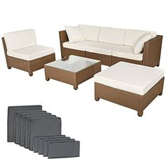 51f90c18f7d9 TecTake Luxury Rattan Aluminium Garden Furniture Sofa Set Outdoor Wicker  brown + 2 Sets For Exchanging The Upholstery, stainless steel screws