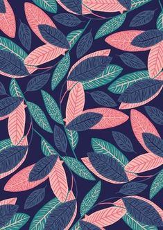 Print pattern design, pretty patterns, summer patterns, leaves wallpaper, g Cute Wallpapers, Wallpaper Backgrounds, Iphone Wallpaper, Leaves Wallpaper, Wallpaper Winter, Iphone Backgrounds, Motif Tropical, Motif Floral, Pretty Patterns