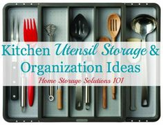 Lots of real life kitchen utensil storage and organization ideas {on Home Storage Solutions 101}