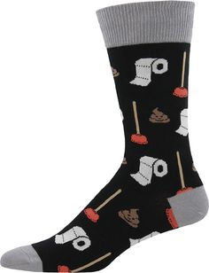 All of your bathroom buddies are here on this crew sock for men: a loya roll ofl TP, a tenacious plunger, and of course a smiling poop!