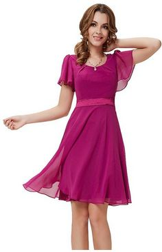 modest, Round Neckline Sleeve Ruched Short Dress