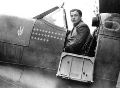 """""""ACE"""" Flight Lieutenant Eric Stanley Lock, DSO, DFC, Royal Air Force fighter pilot in the cockpit of his Spitfire. The 26 swastika emblems denote his aerial victories. During the Battle of Britain Ww2 Aircraft, Fighter Aircraft, Aircraft Photos, Luftwaffe, The Spitfires, Supermarine Spitfire, Ww2 Planes, Battle Of Britain, Fighter Pilot"""