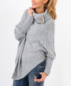 Look what I found on #zulily! Gray Asymmetrical Cowl-Neck Sweater #zulilyfinds