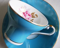 Aynsley Pink Rose Teacup and Saucer Turquoise Tea Cup and