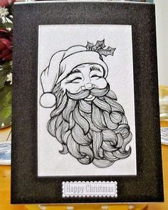 Machine embroidered Christmas card Fabulous Santa Full Face sketch black