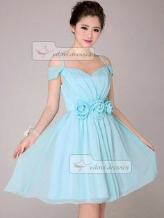 A-line Off-the-Shoulder Bridesmaid Dress Short Chiffon Flower Light Sky Blue Bridesmaid Dresses on Etsy, $99.99 ...comes in other colors too!