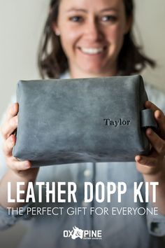These dopp kits make the greatest gifts and are customizable with four sizes, five color options, and space for lettering on the outside. Dopp Kit, Leather Gifts, Leather Journal, Ox, Her Style, Mother Day Gifts, Pine, Great Gifts, Lettering