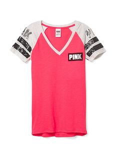 Fitted V-neck Tee - PINK - Victoria's Secret