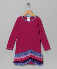 Take a look at this Magenta New Wave Ruffle Dress - Girls by Me & Ko on #zulily today!