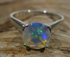 Natural Ethiopian Solitaire Opal Ring  Sterling by BimBamNation, $100.00