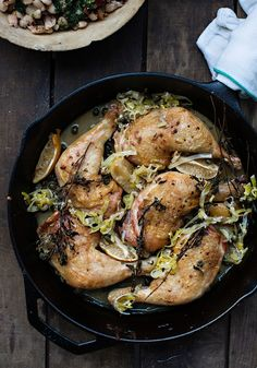 BRAISED CHICKEN with LEEK, WHITE WINE, PRESERVED LEMON, CAPERS & MARJORAM http://www.sunday-suppers.com/blog/braised-chicken-with-white-wine-preserved-lemon-marjoram [sunday-suppers]