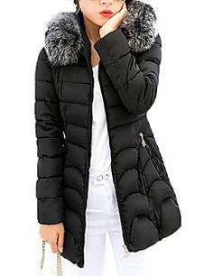 Women's Regular Padded CoatSimple / Street chic Slim Fur Trim Plus Size Casual Solid Long Sleeve Hooded