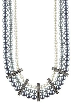 Triple Row Simulated Pearl Necklace by Stella + Ruby on @HauteLook