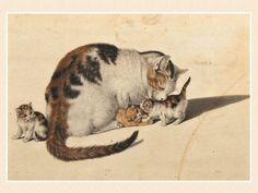 Katzenmutter mit drei Jungen - Mother cat with three kittens | watercolour painting, ca. 1768-1814 | Gottfried Mind