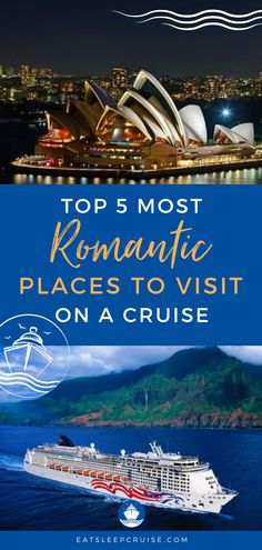 Top 5 Most Romantic Cruise Destinations | If you're ready for a romantic vacation to get away from it all, consider a cruise vacation. With everything included and rooms or cabin on the ship, you can celebrate a big event or rekindle a relationship. Here we share the top 5 most romantic cruise destinations. Use this for ideas and tips to plan your best couple retreat. Check it out and you'll be ready to book when cruising resumes! #RomanticVacation #RomanticGetaway #CruiseVacation #Cruising