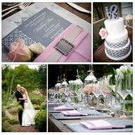 Meant2Be Events: Modern Charcoal Wedding Menu Place settings and matching cake